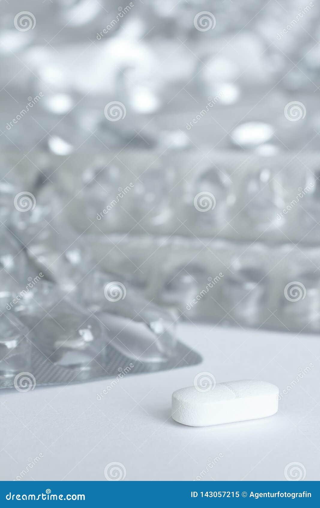 One tablet blister packs background