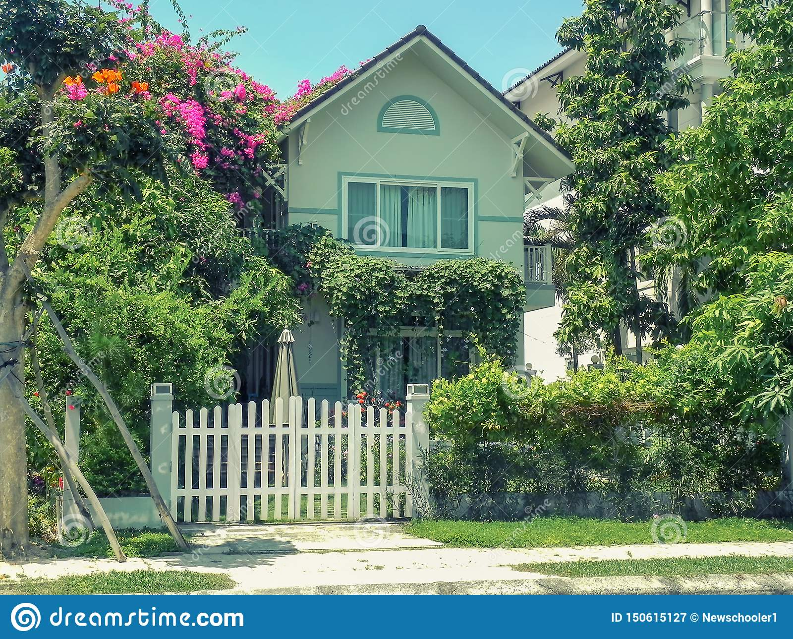 One Small Cozy Two Storey House With P Trees Stock Image Image