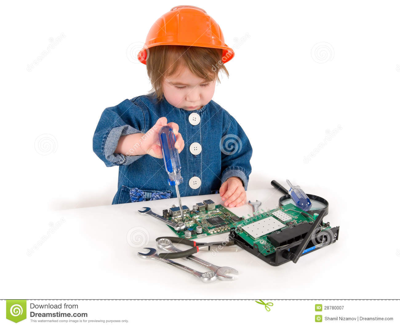 one small little girl fixing router or modem or pcb