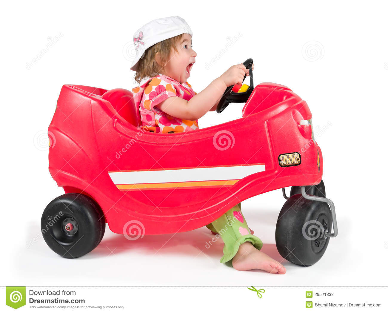 One Small Little Girl Playing With Toy Car Royalty Free