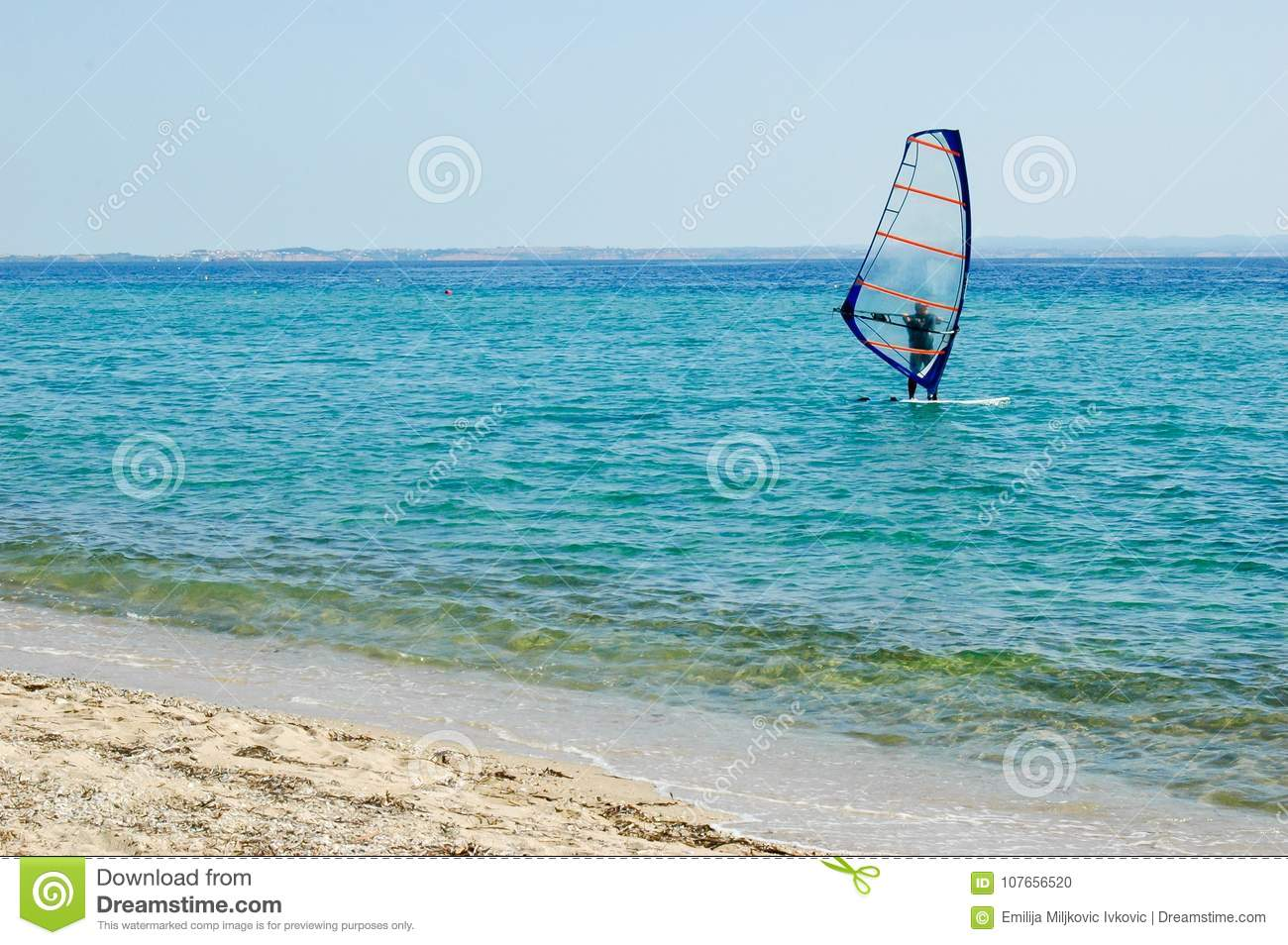 One Small Sailboat On Open Sea Stock Photo - Image of ...