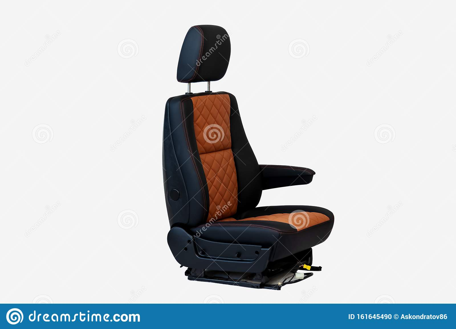 One Sport Seat Of Van With Armrest With Black And Brown Leather Trim Located On The White Isolated In The Workshop For Repair And Stock Photo Image Of Health Belt 161645490