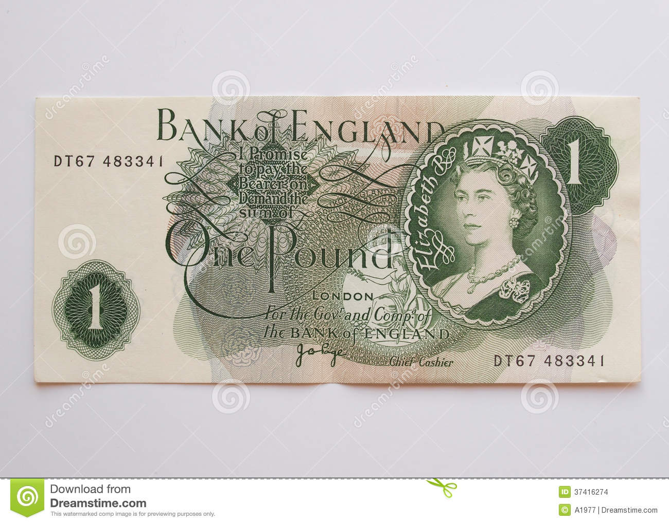 One Sterling Pound Note Circa 1970 Editorial Stock Image