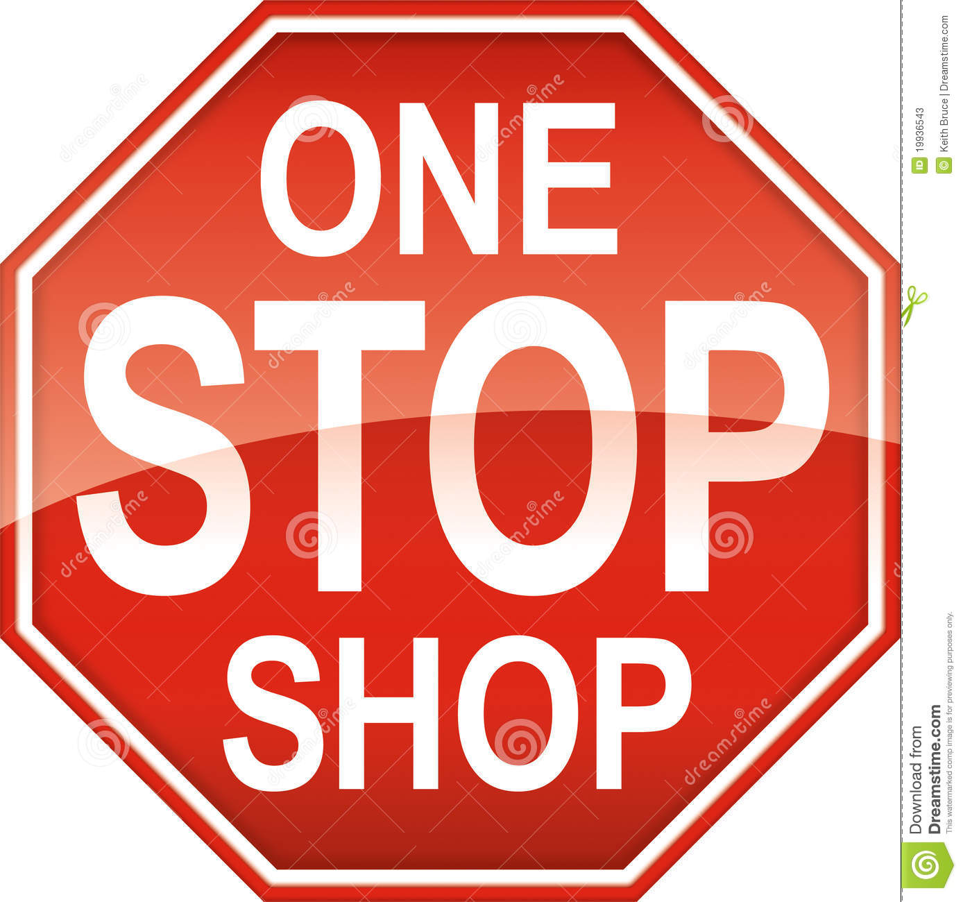 Stop sign shape themed advertising element for 1 stop shopping.
