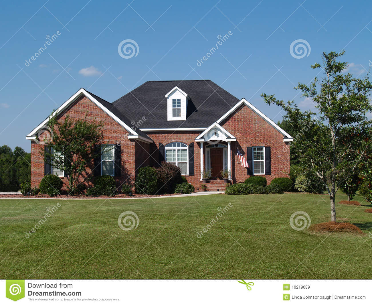 One story brick residential home royalty free stock for 1 story brick house plans