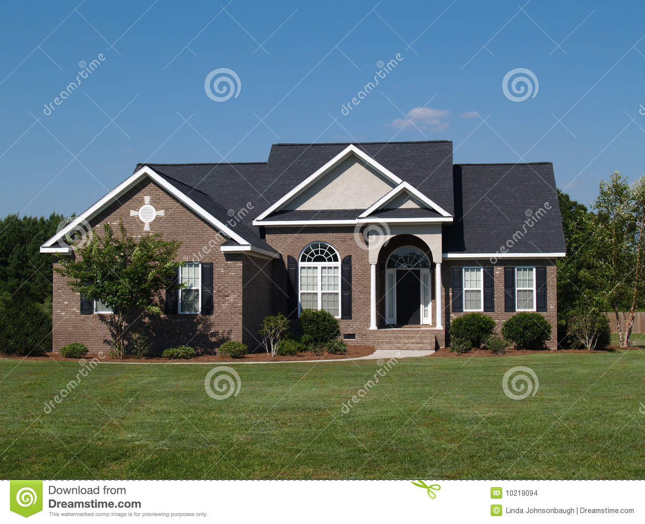 One story brick residential home stock images image for 1 story brick house plans