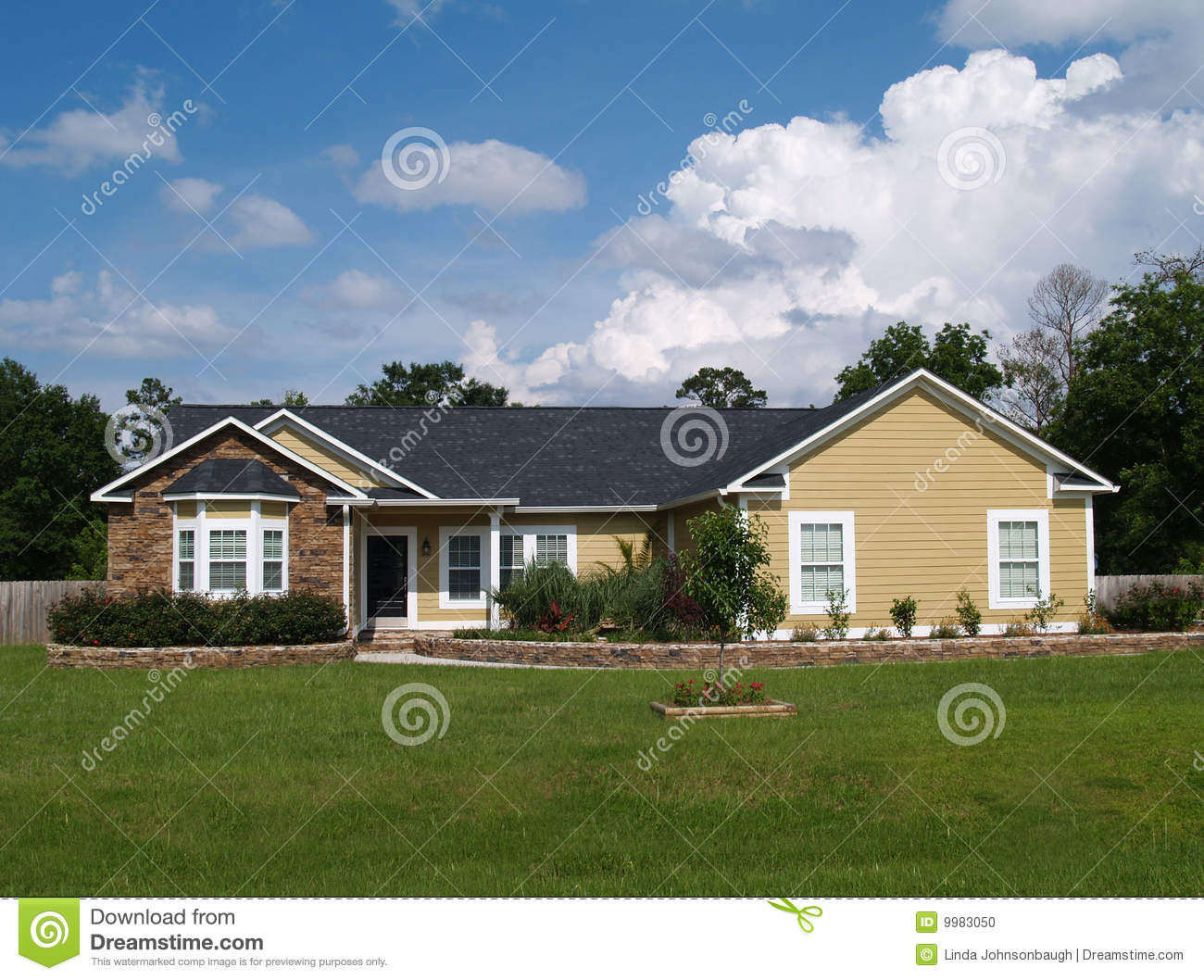 One Story Residential Home Stock Photo Image Of Outside