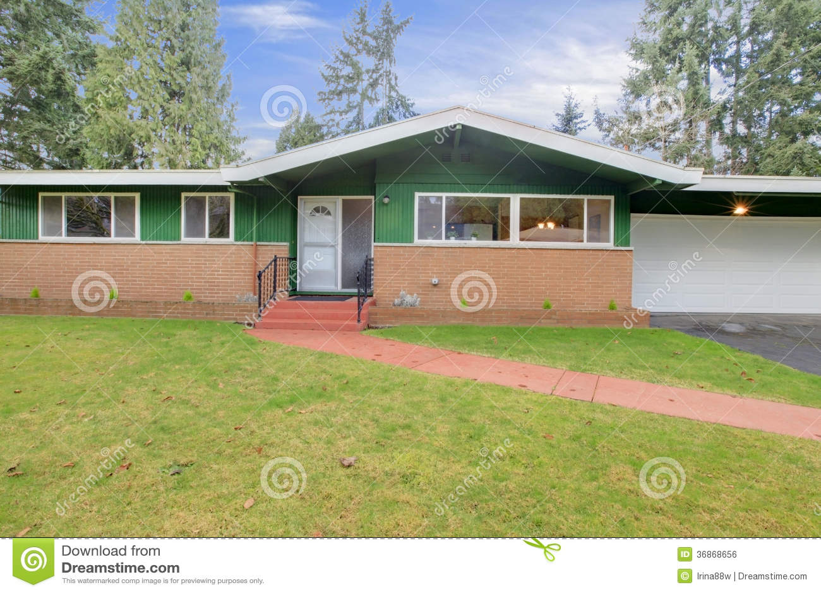 One story wood panel siding house royalty free stock image for Half brick half siding house