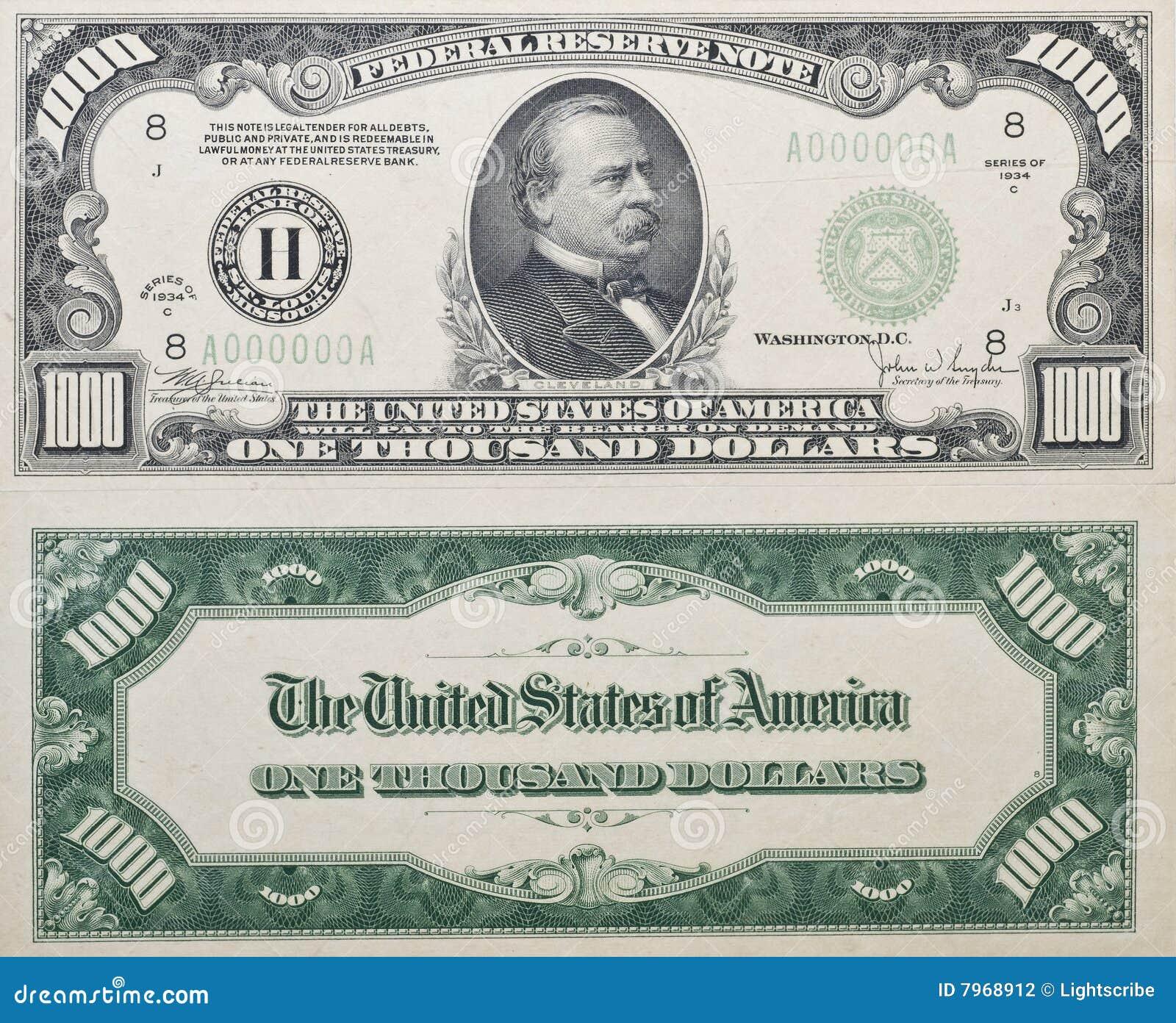 1000 Dollar Bill Dreamstime Com Clipart