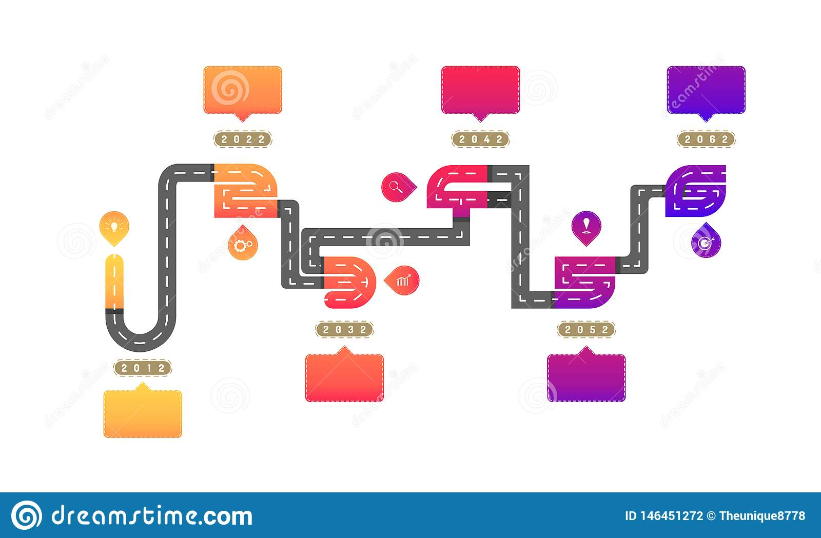 One to six way roadmap timeline elements with markpoint graph think search gear target icons. vector illustration eps10