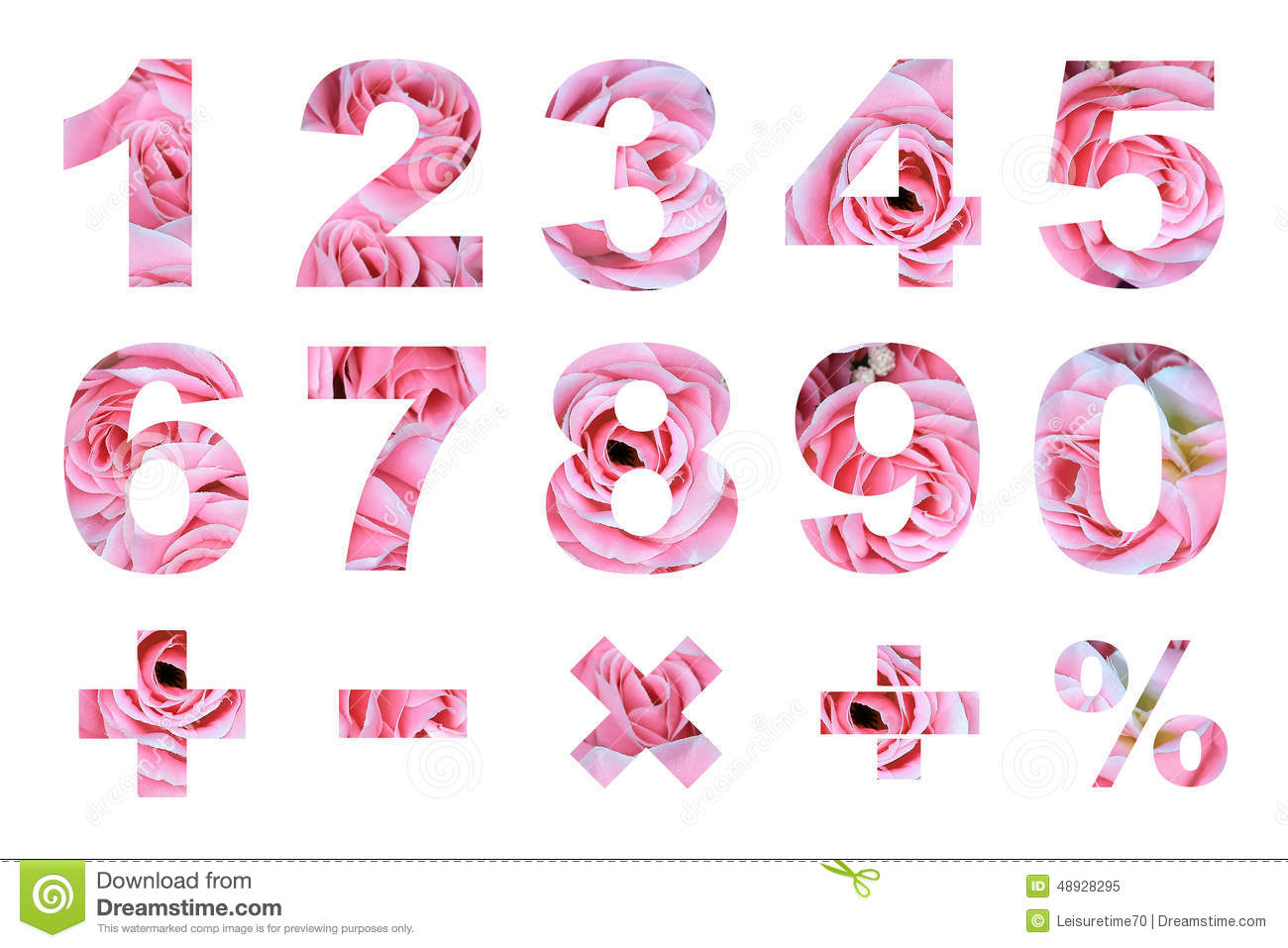 One To Zero Numbers And Basic Mathematical Symbols Stock ... S Alphabet In Rose