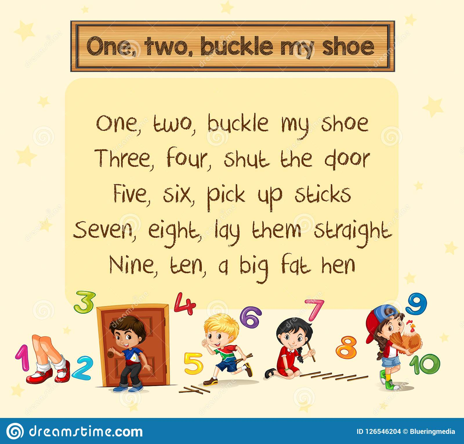 photograph regarding One Two Buckle My Shoe Printable identified as One particular 2 Buckle My Shoe Music Inventory Vector - Example of