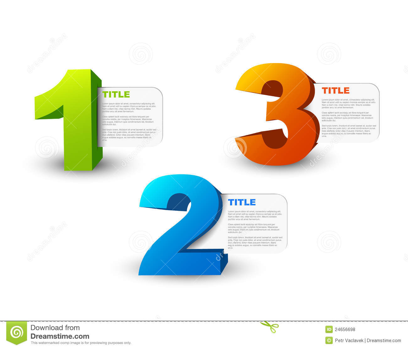 One Two Three 3D Vector Progress Icons Royalty Free