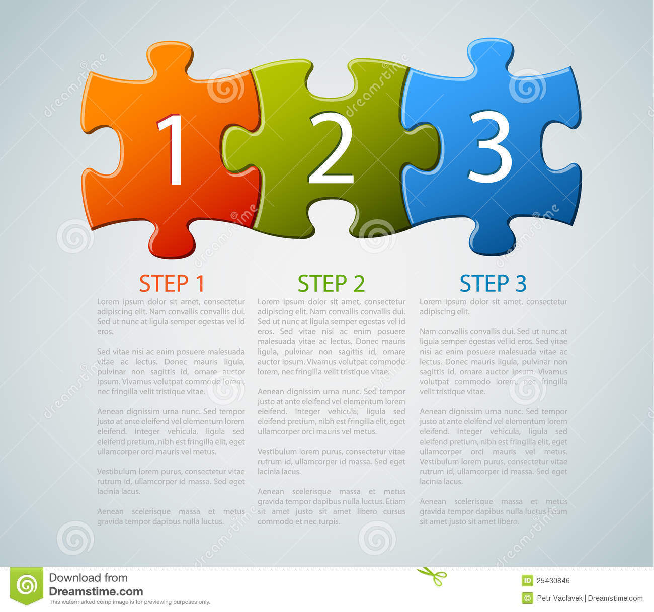 One Two Three - Vector Puzzle Pieces With Numbers Royalty Free ...