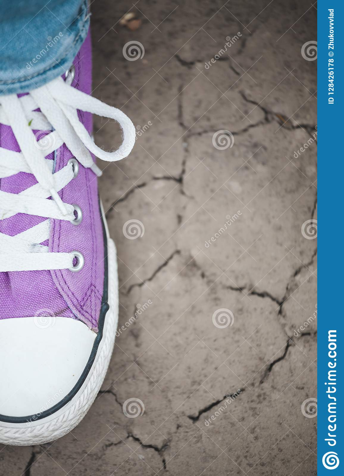 ef0290bbe68722 One violet sneaker on the cracked earth stock photo image jpg 1156x1600 Purple  earth shoes