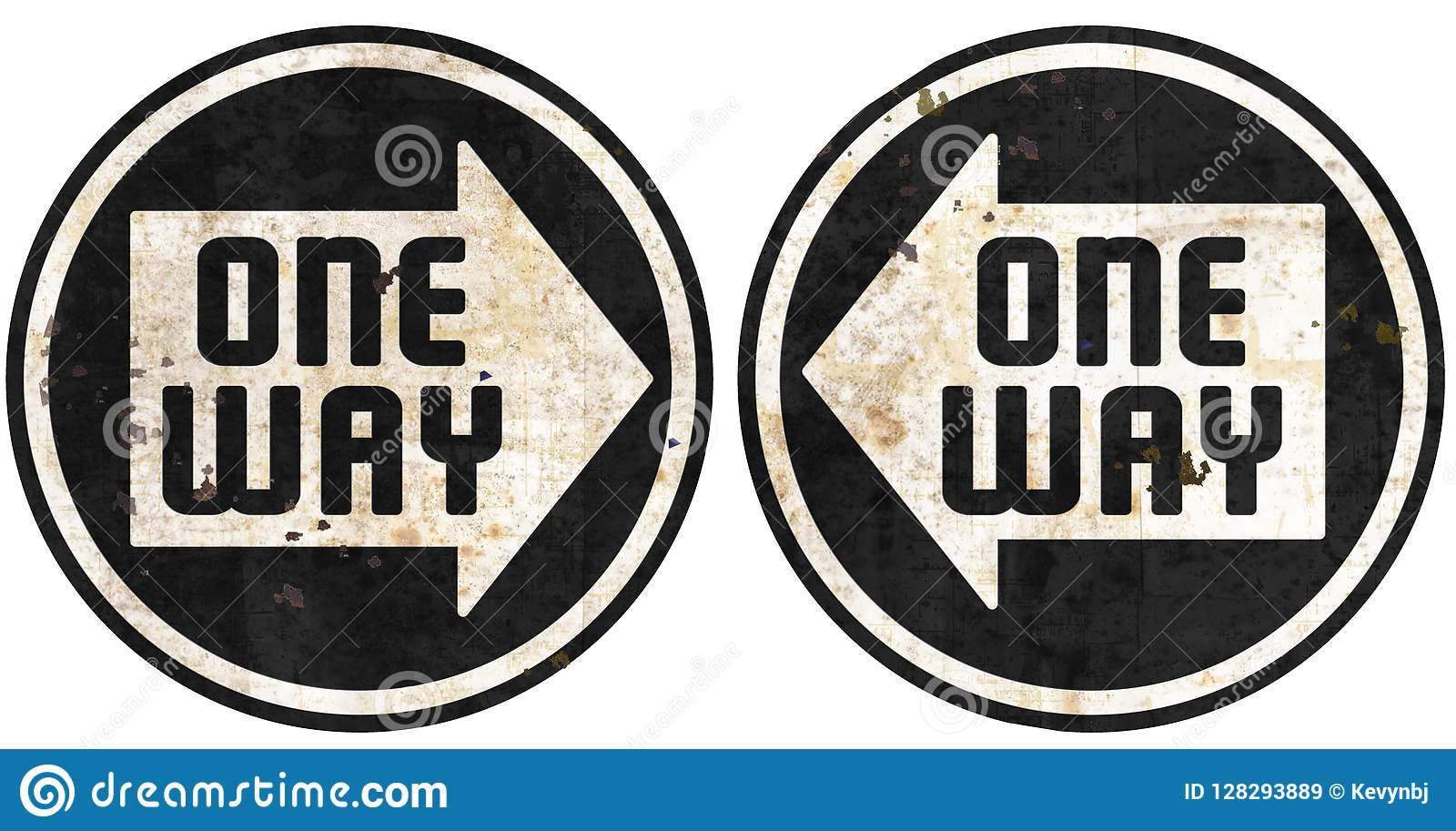 One Way this way metal street signs grunge arrow