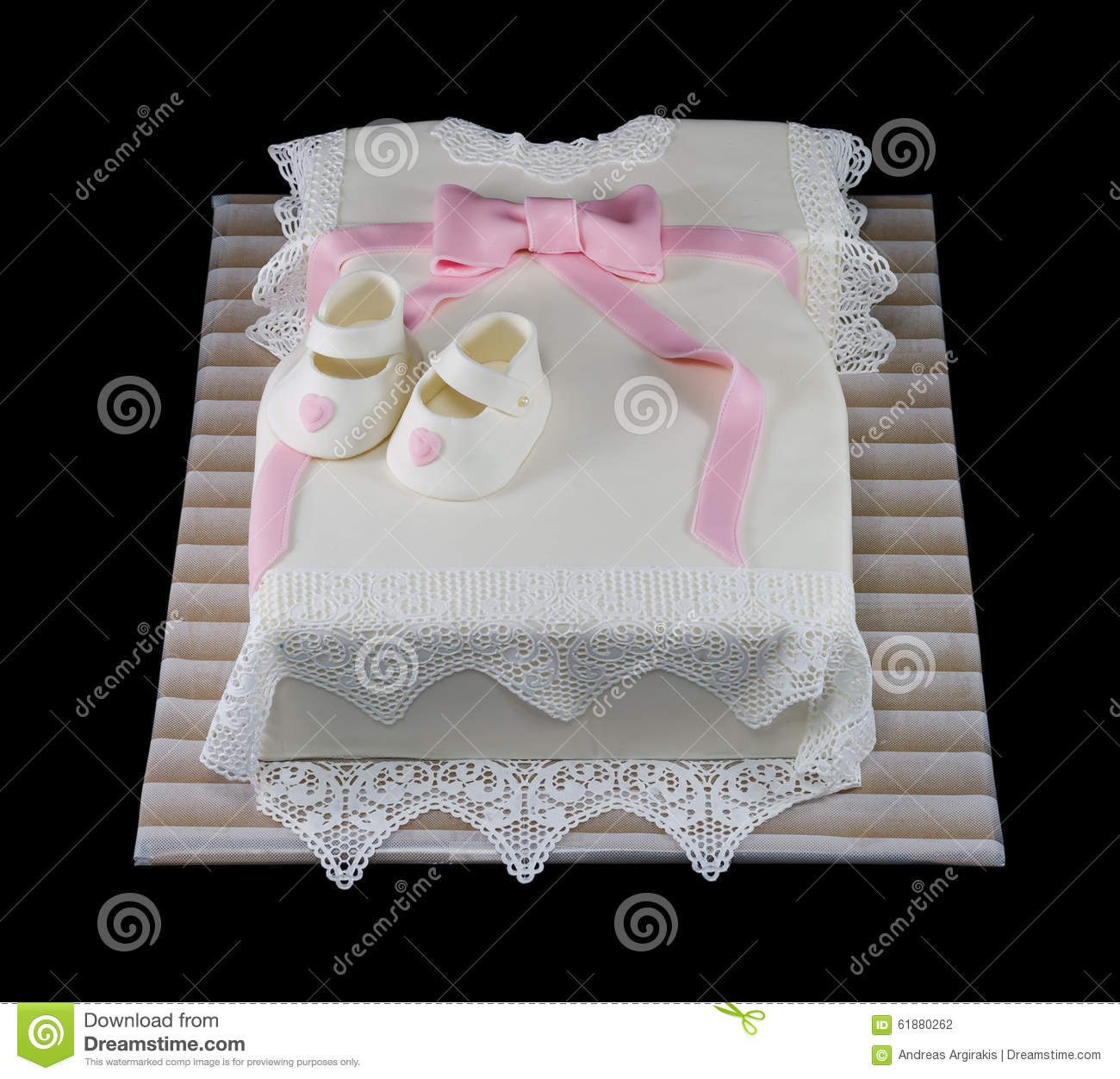 One White Cake In The Shape Of A Baby Dress Stock Photo Image Of