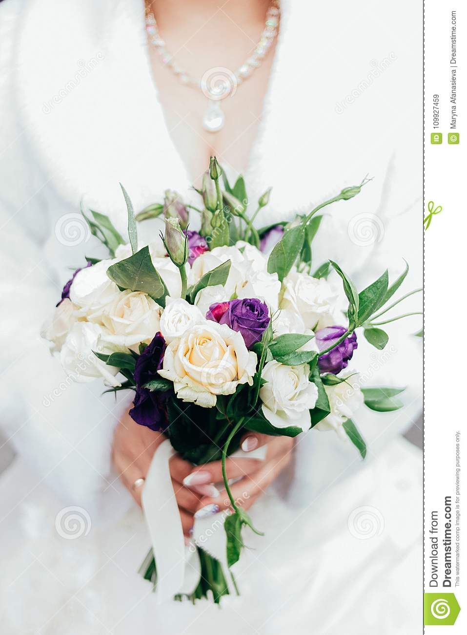 One white wedding bouquet holding in the hands stock image image download one white wedding bouquet holding in the hands stock image image of leaves izmirmasajfo