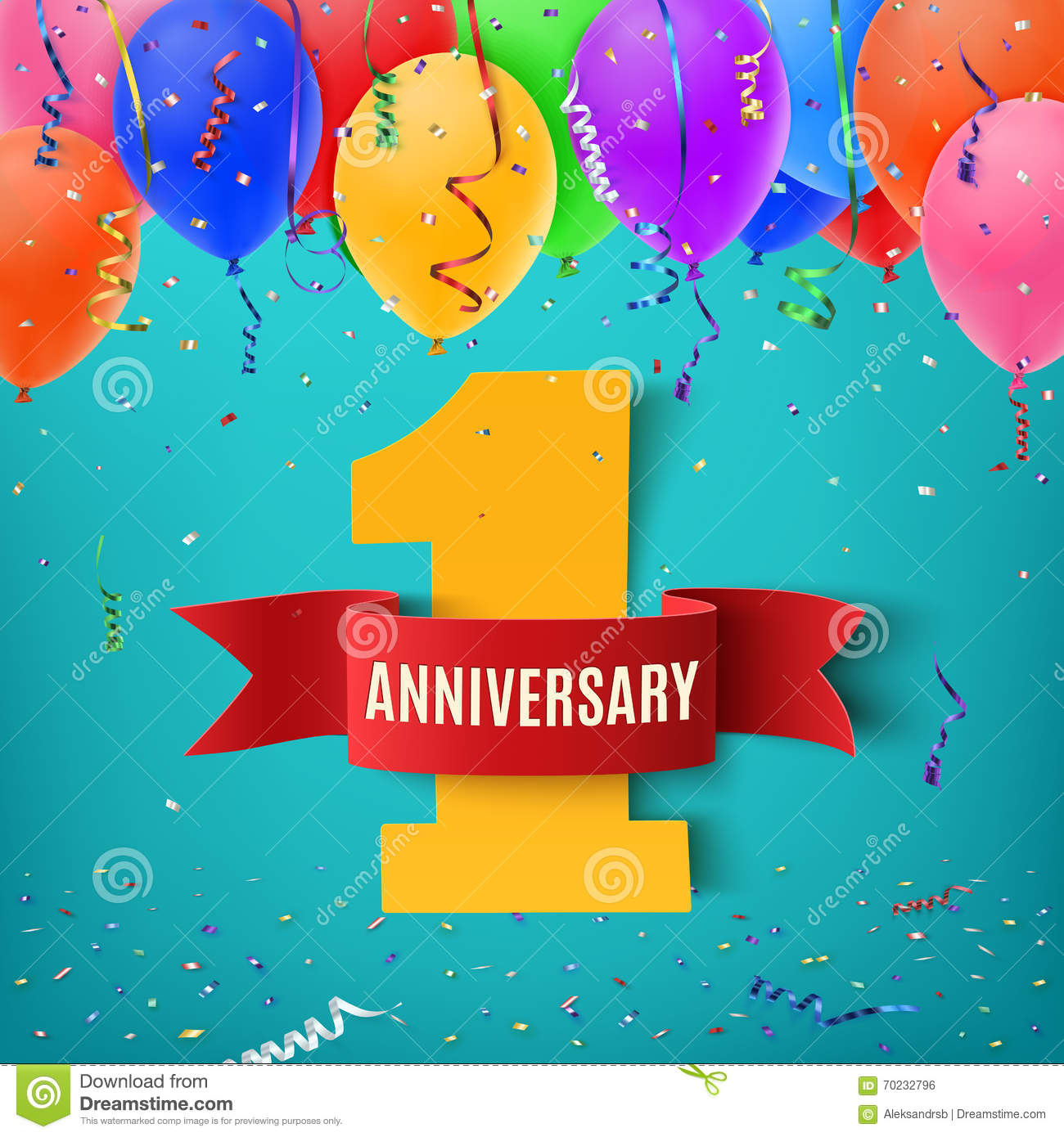 One Year Anniversary Celebration Background Stock Vector