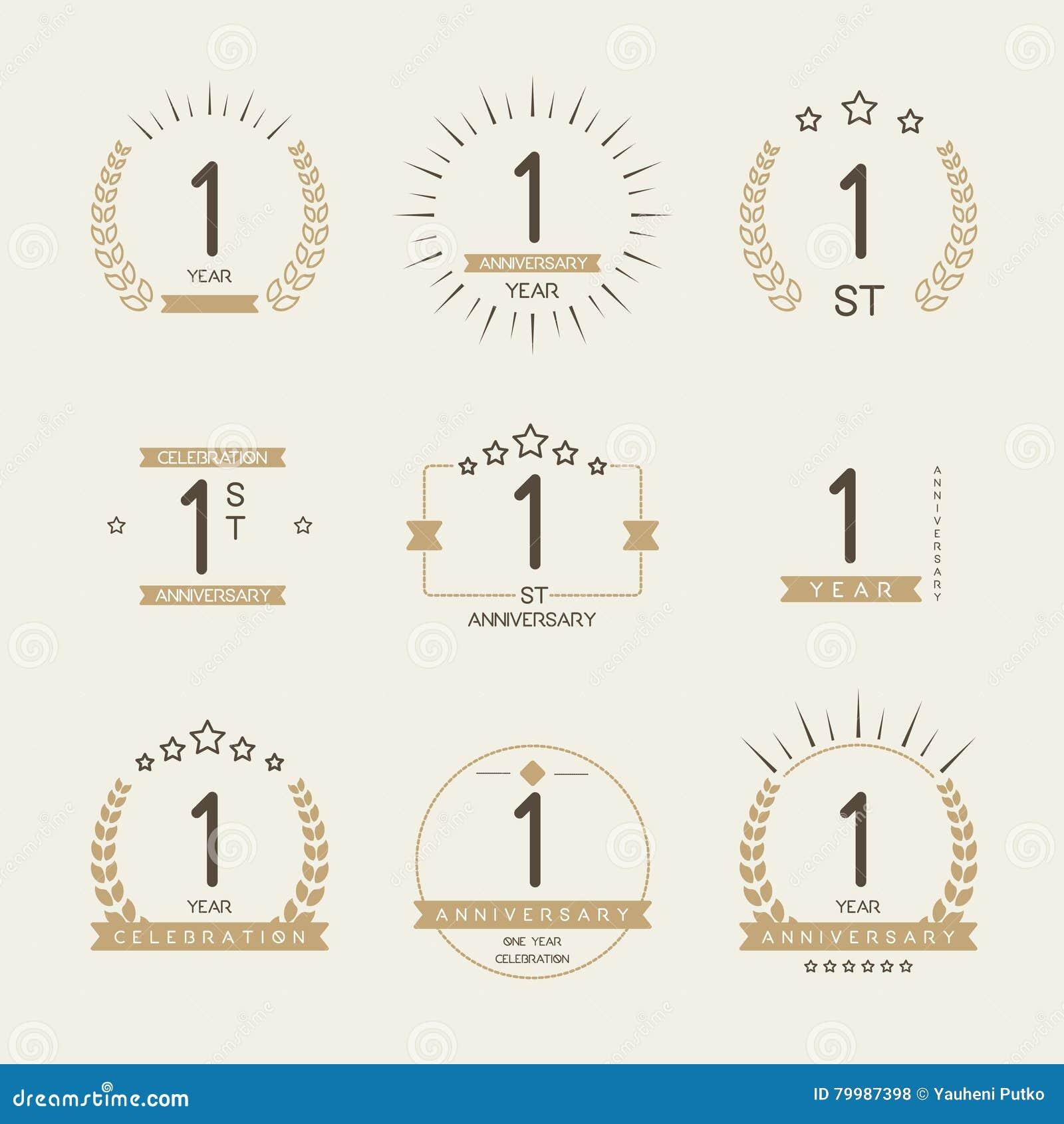 One Year Anniversary Celebration Logotype. 1st Anniversary ...