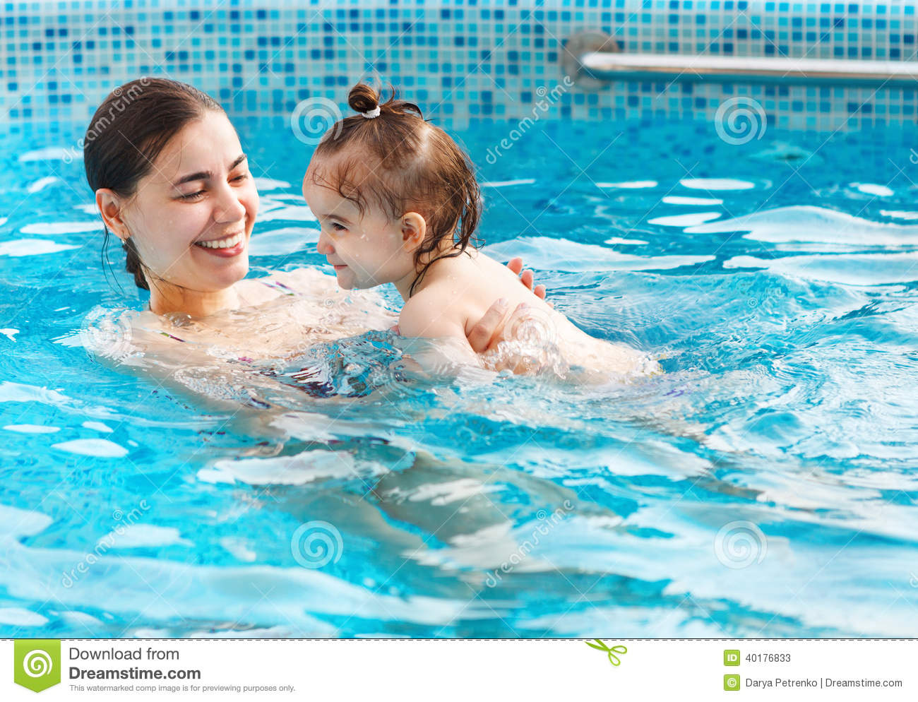 One Year Baby Girl At Her First Swimming Lesson With Mother Stock Photo Image 40176833