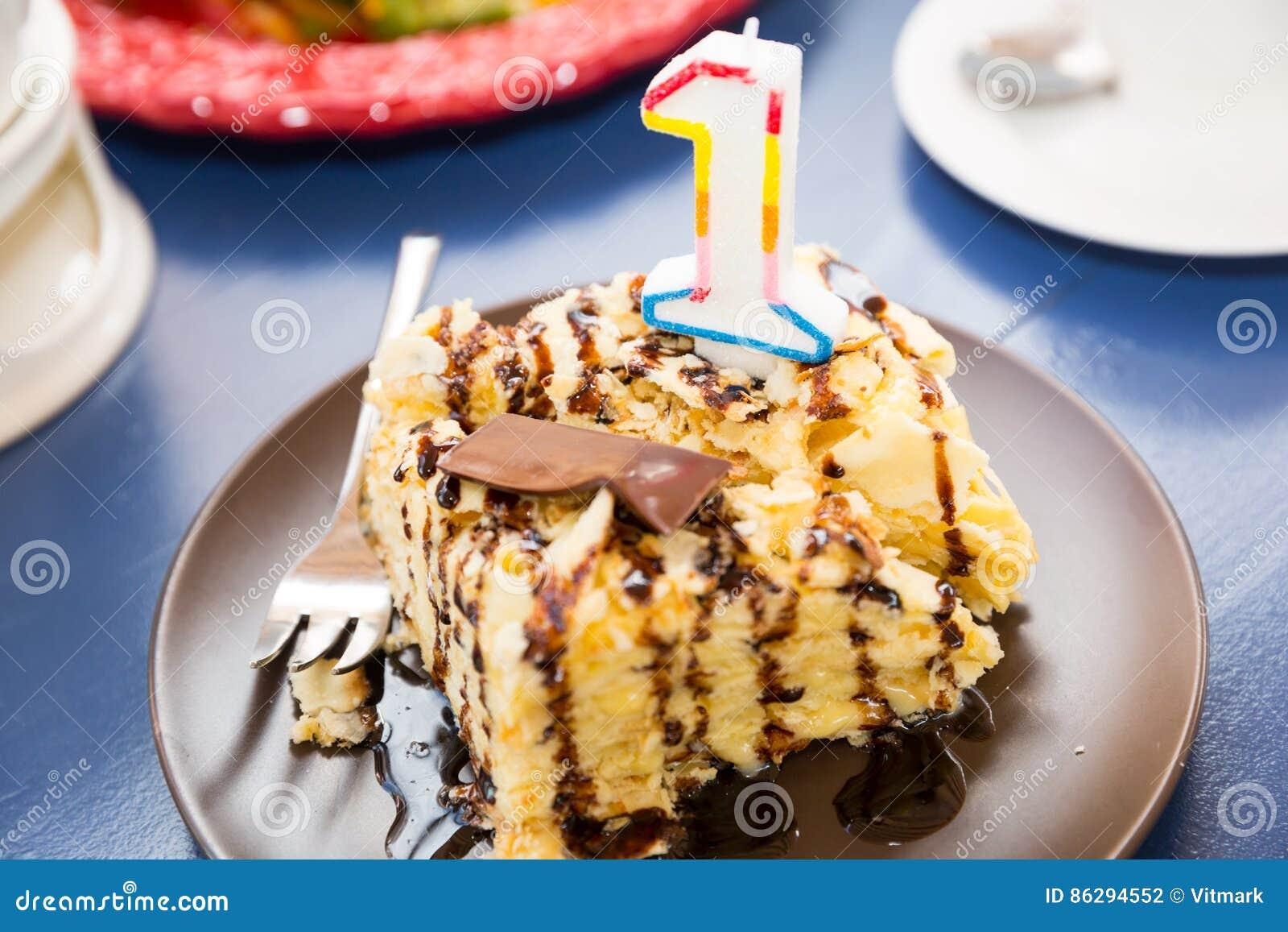 One year cake. Birthday cupcake with number one. Birthday greetings
