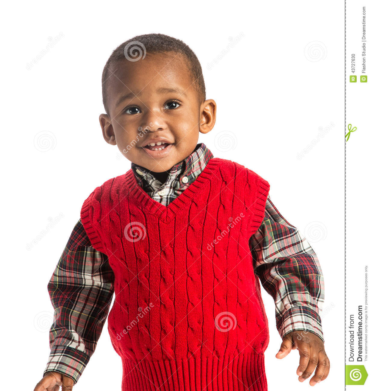 One year old adorable african american boy portrait on isolated stock