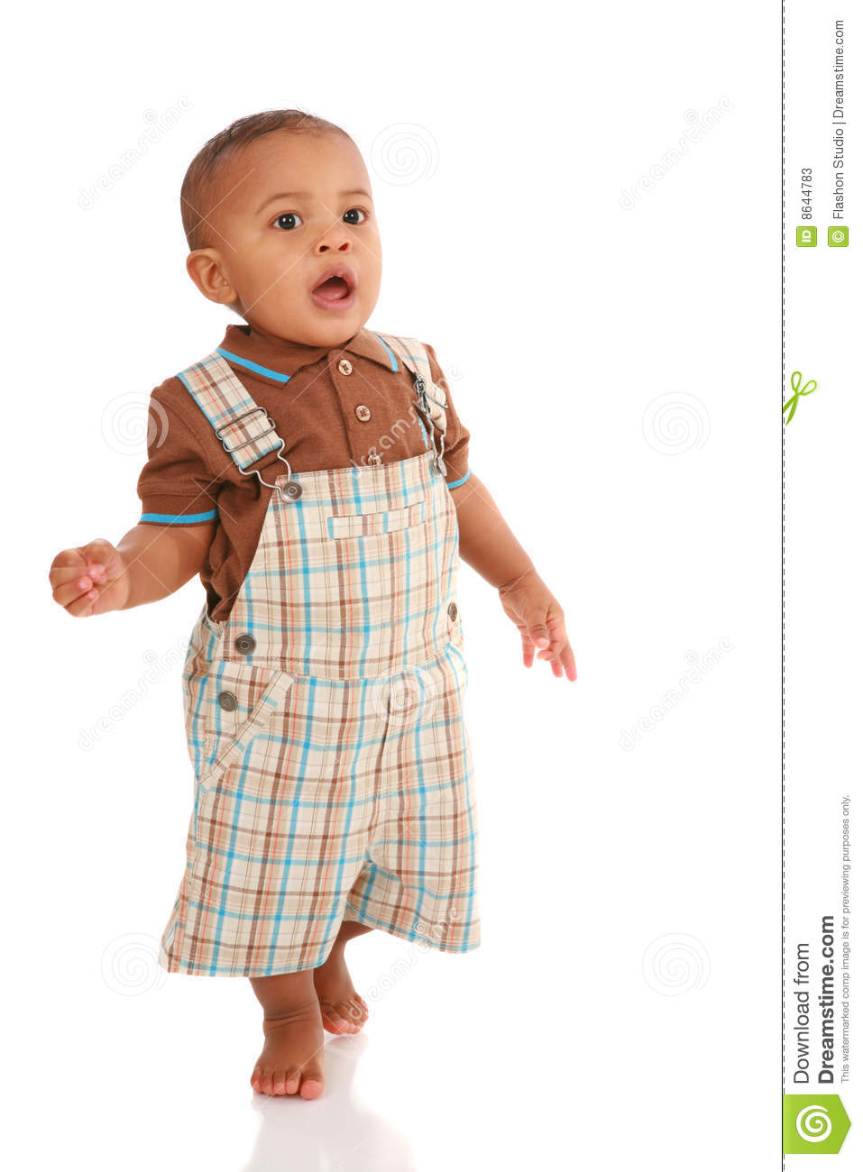 One Year Old Baby Boy Standing Talking Stock Photos