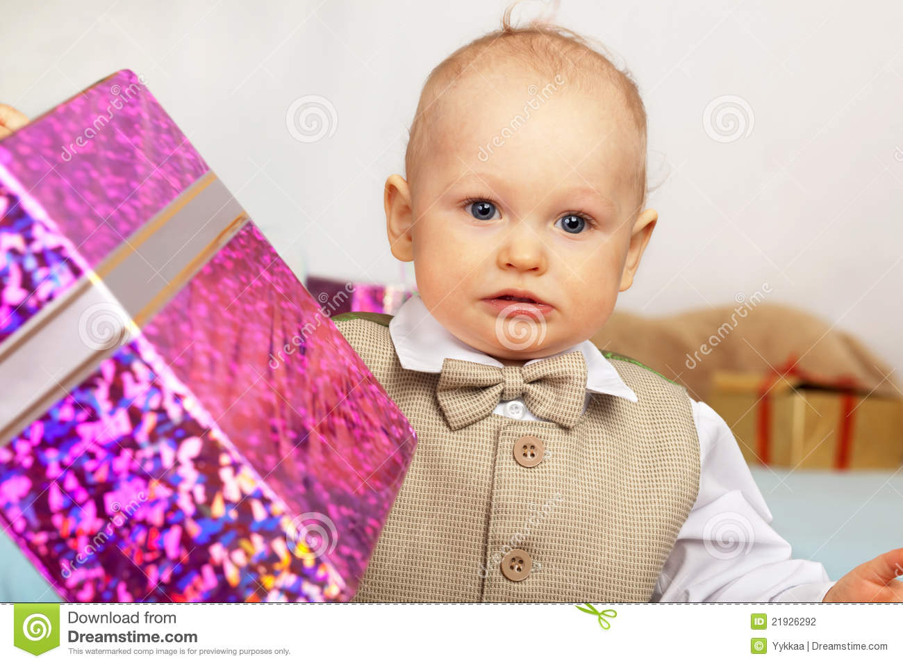 One Year Old Baby With Gift. Stock Photography