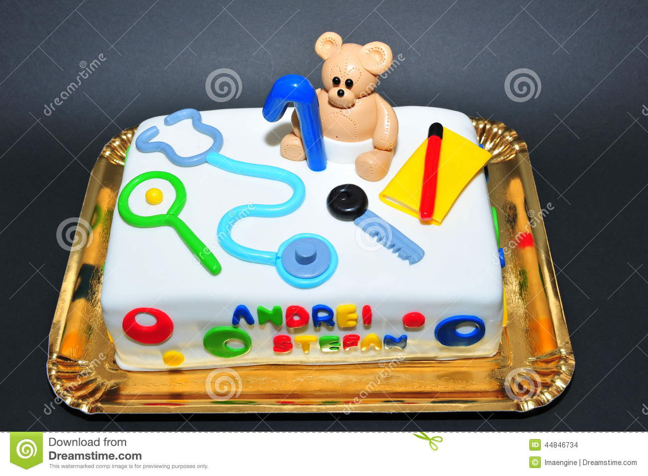 One Year Old Birthday Celebration Kids Cake Stock Photo Image Of