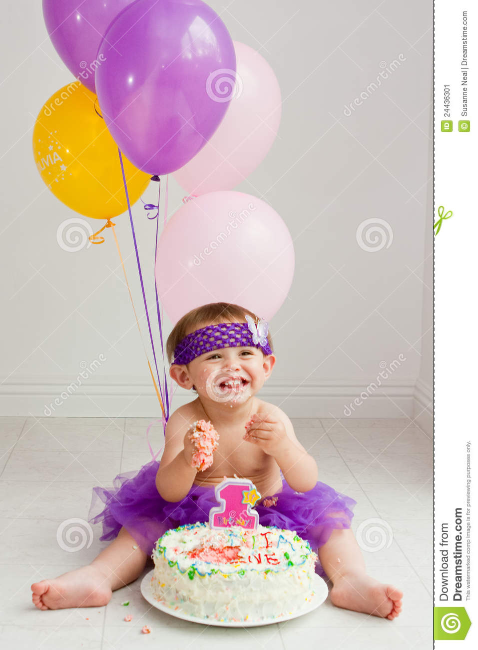 One Year Old Birthday Girl With Cake Stock Image Image of floor