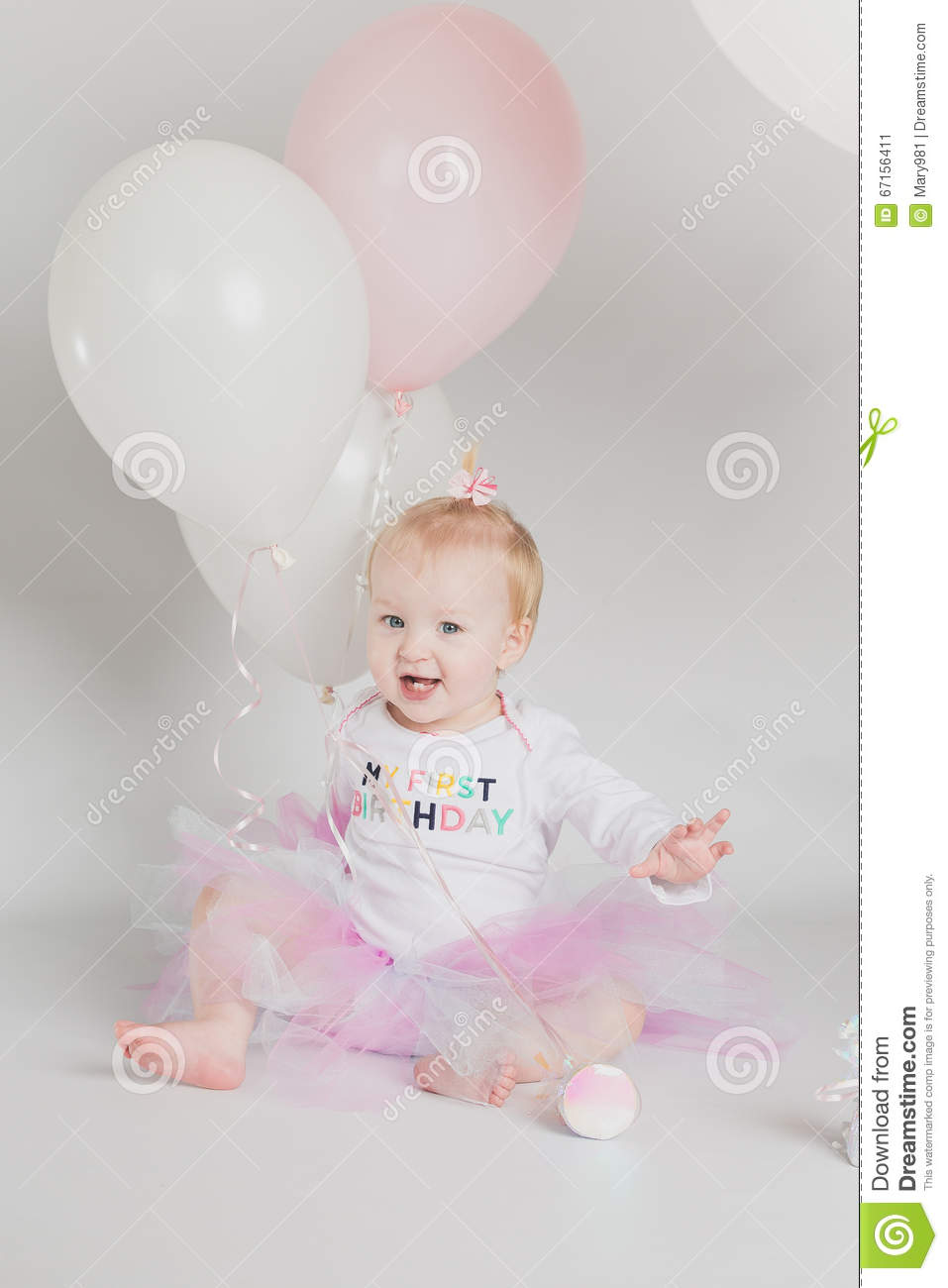Adorable One Year Old Little Girl Birthday Portrait White Background Smiling With Pink And Balloons