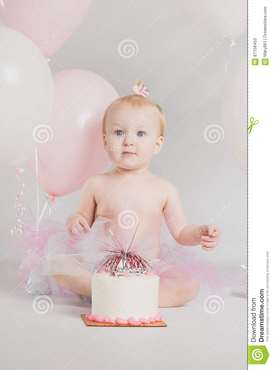 One Year Old Birthday Portraits With Smash Cake Royalty ...