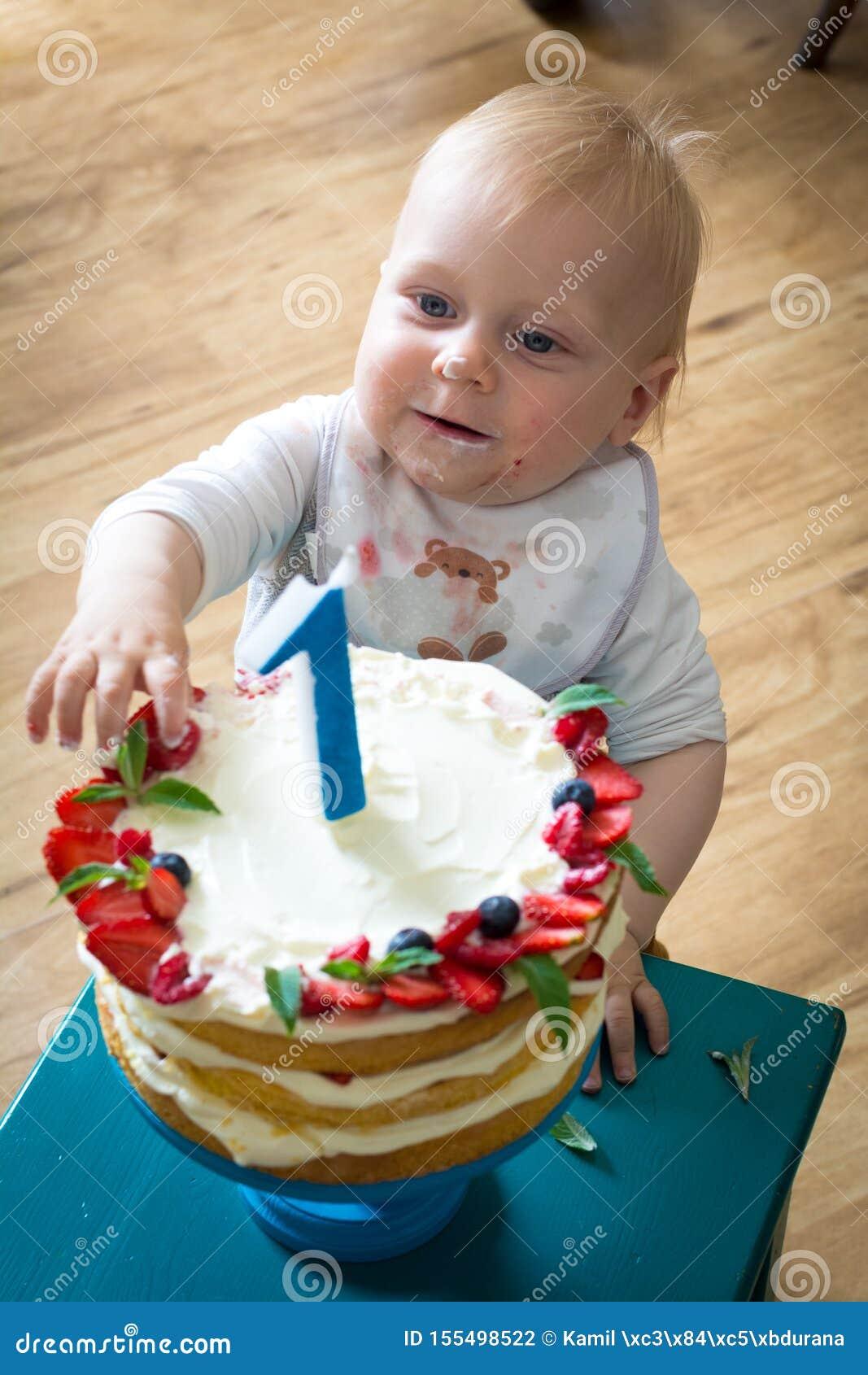 Astounding One Year Old Boy And His Birthday Cake Stock Photo Image Of Personalised Birthday Cards Veneteletsinfo