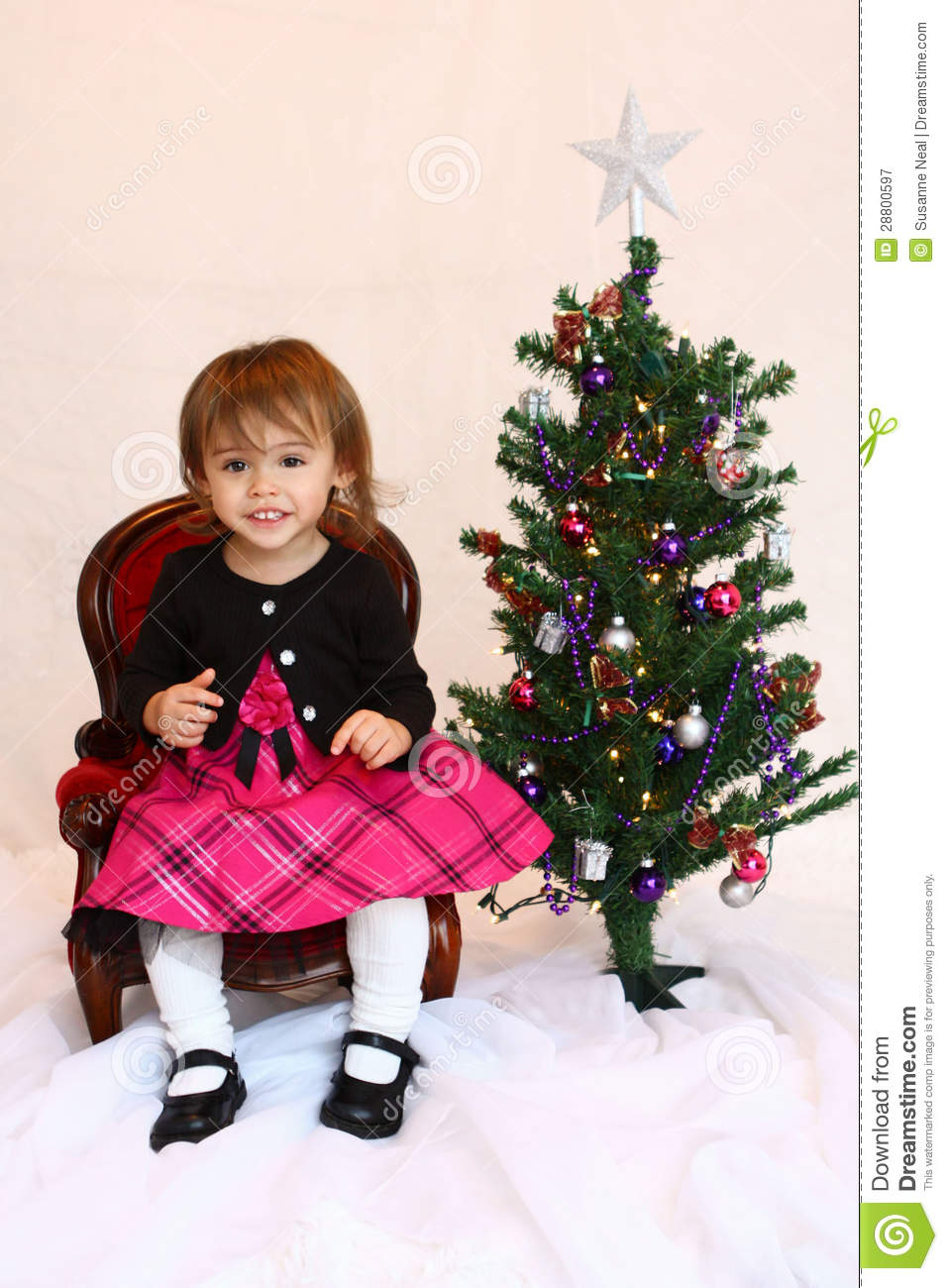One Year Old Christmas Toddler Girl Stock Image Image Of