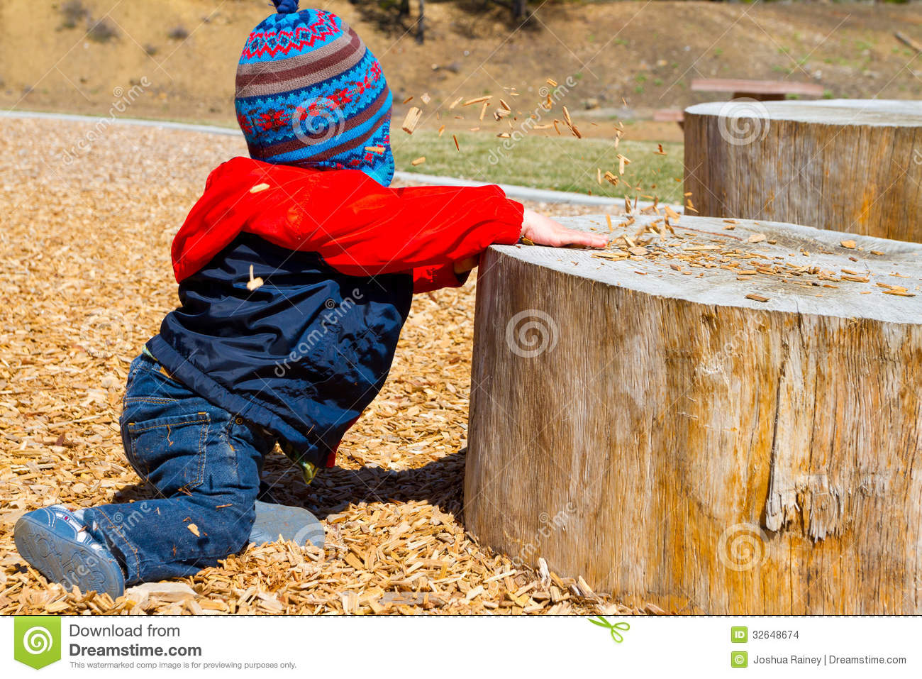 One year old playing at park stock images image