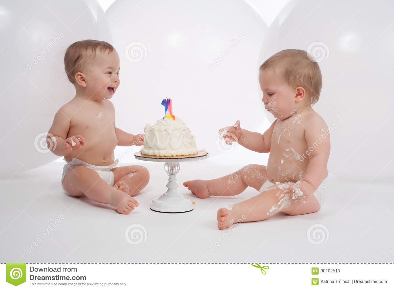 One Year Old Twin Boys With Birthday Cake Stock Image