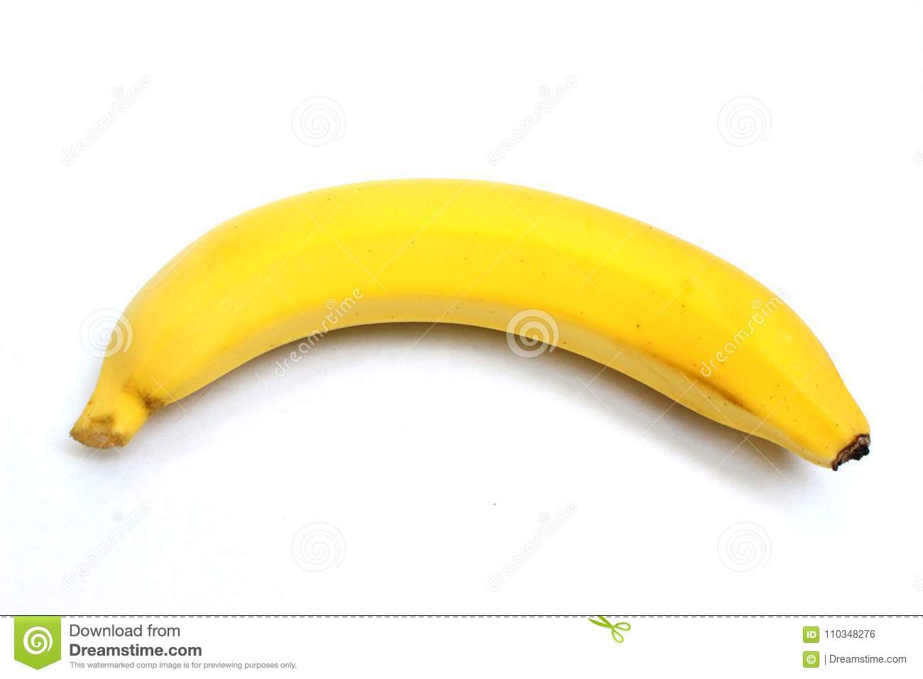 One Yellow Banana On Top View In White Background Stock Photo