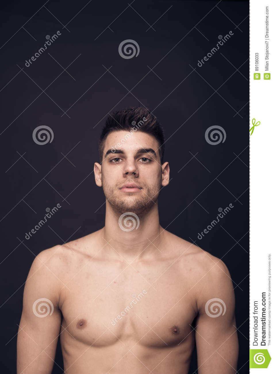 One Young Man Confident Upper Body Shirtless Stock Image