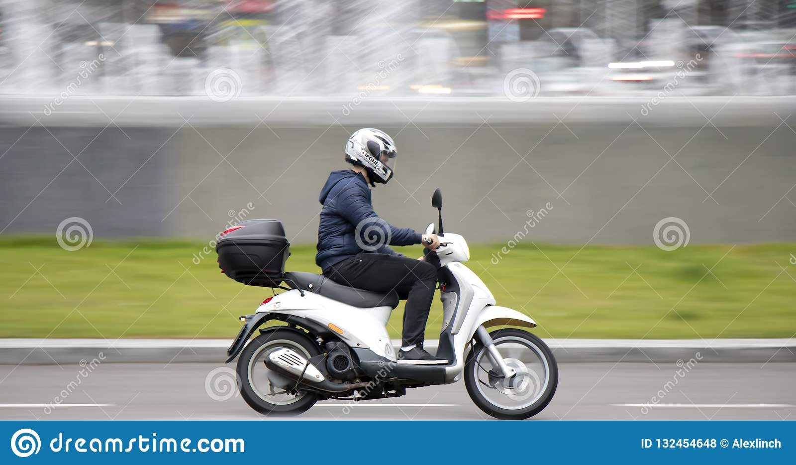One Young Man Riding Scooter With Rear Storage Box Editorial Stock Photo Image Of Square People 132454648