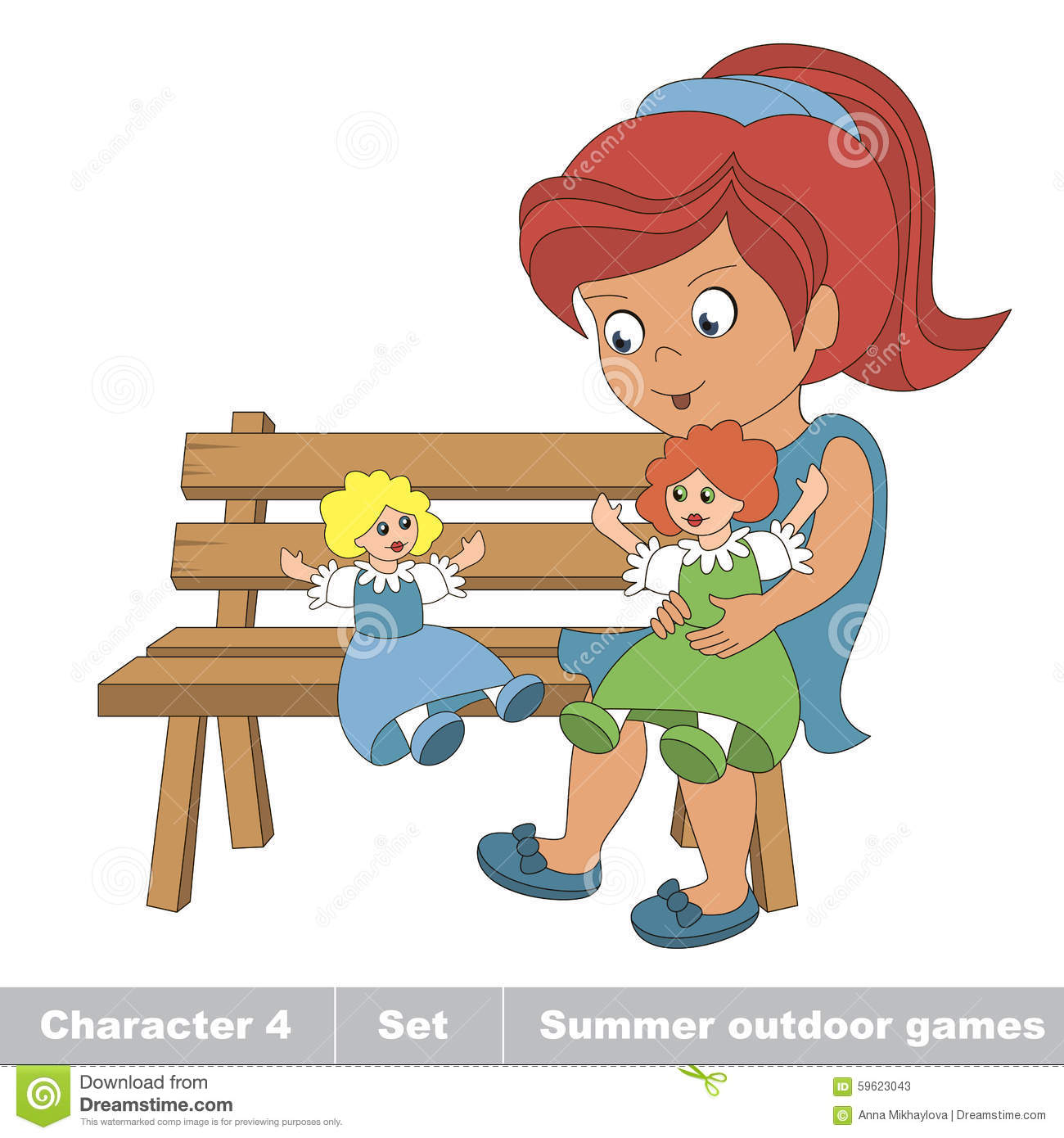 One Young Red Hair Girl In Blue Dress Play With Her Toy