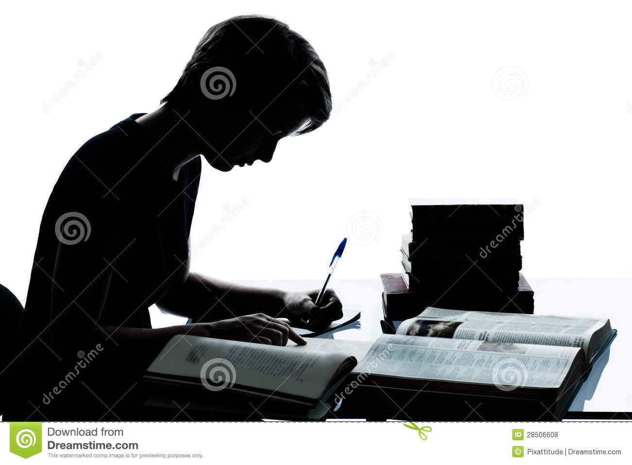 One Young Teenager Boy Or Girl Silhouette Studying Reading Books Royalty Free Stock Photos ...