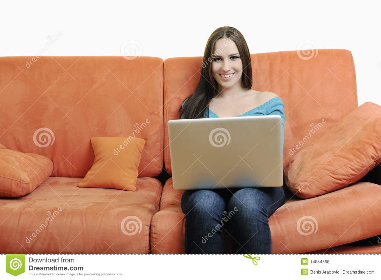 One young woman working on laptop