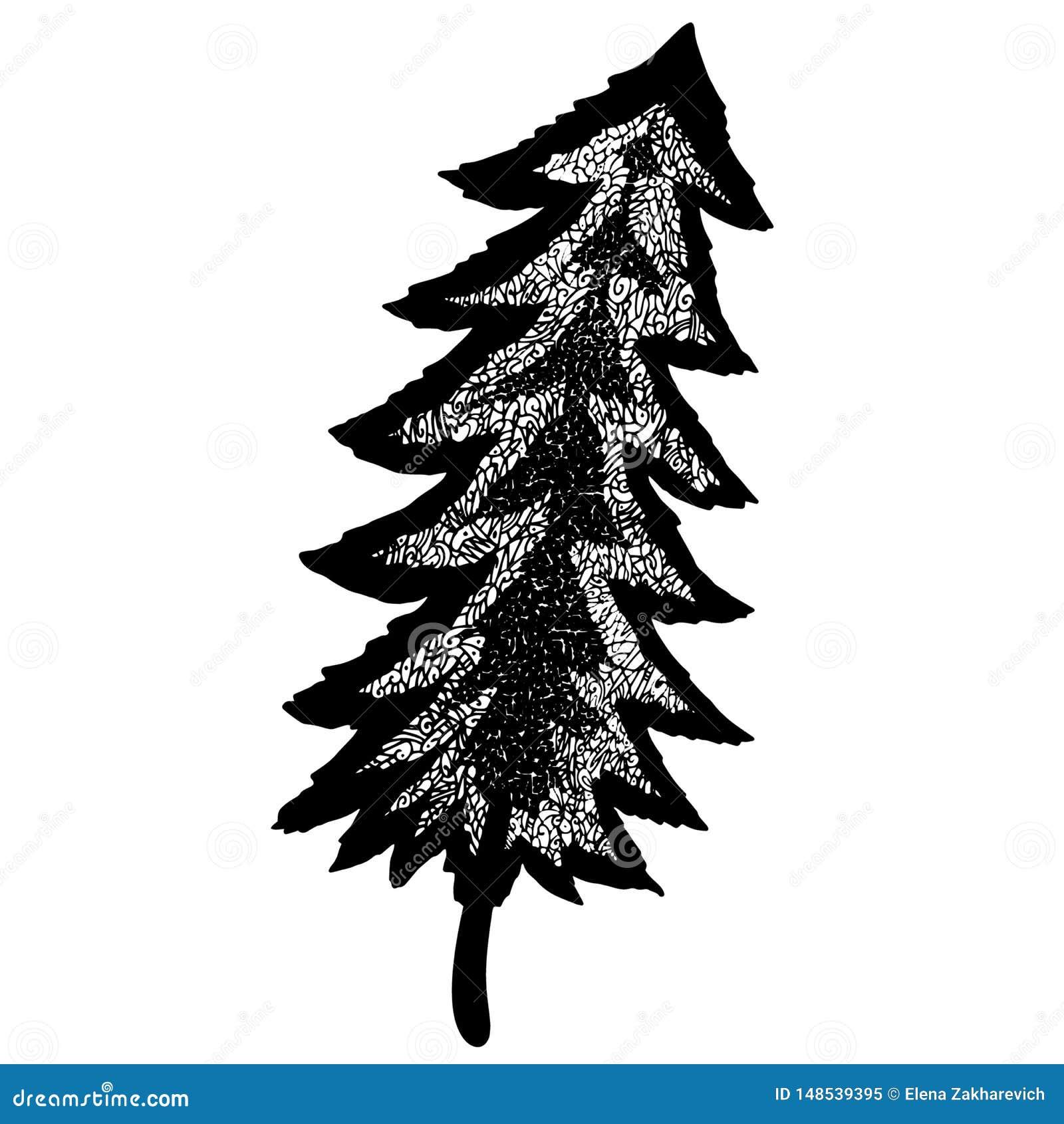 Ongebruikelijke bevallige mozaïek openwork bosboom Geheimzinnig bos hand-drawn lijnart.