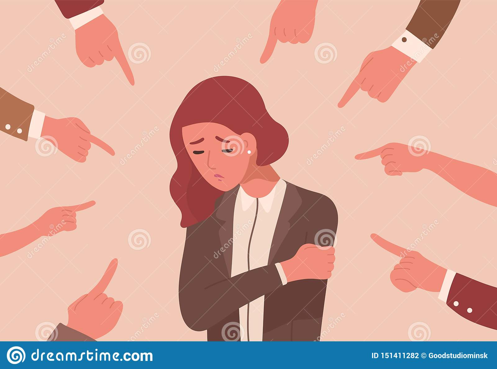 Ongelukkige jonge die vrouw door handen met wijsvingers wordt omringd die op haar richten Openbaar concept slachtoffer die, besch
