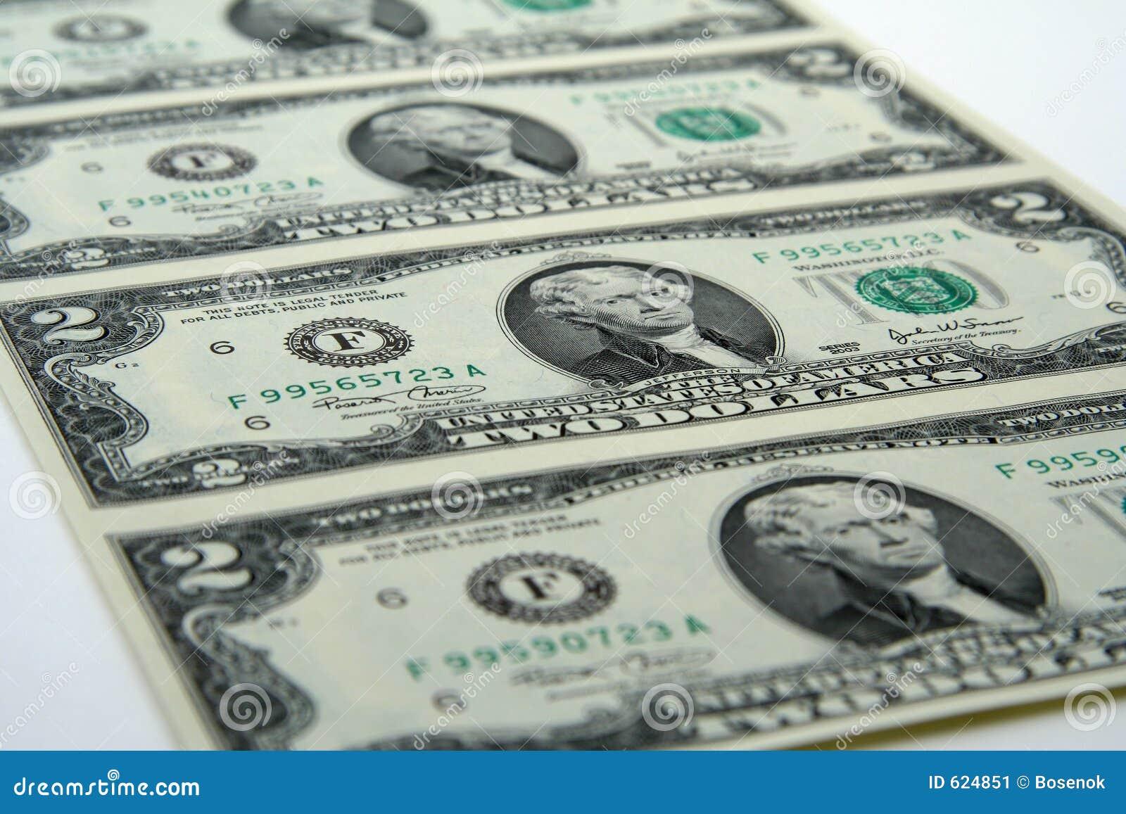 Ongesneden twee dollarsrekeningen