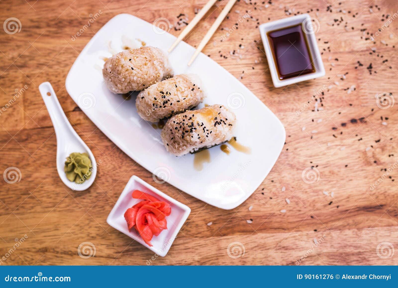 Onigiri rice balls stock photo  Image of delicious, lunch