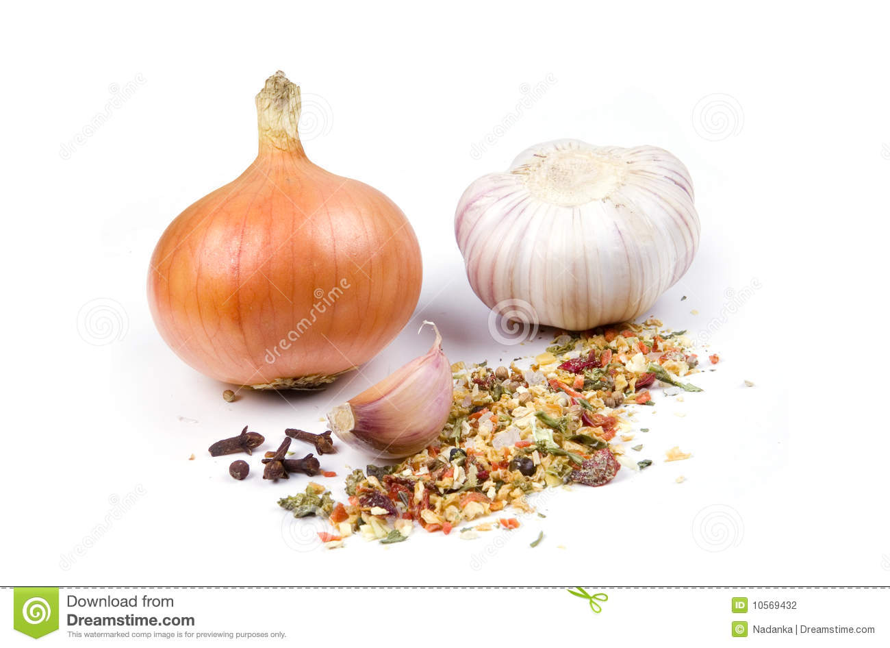 Onion Garlic And Spices Stock Photography Image 10569432