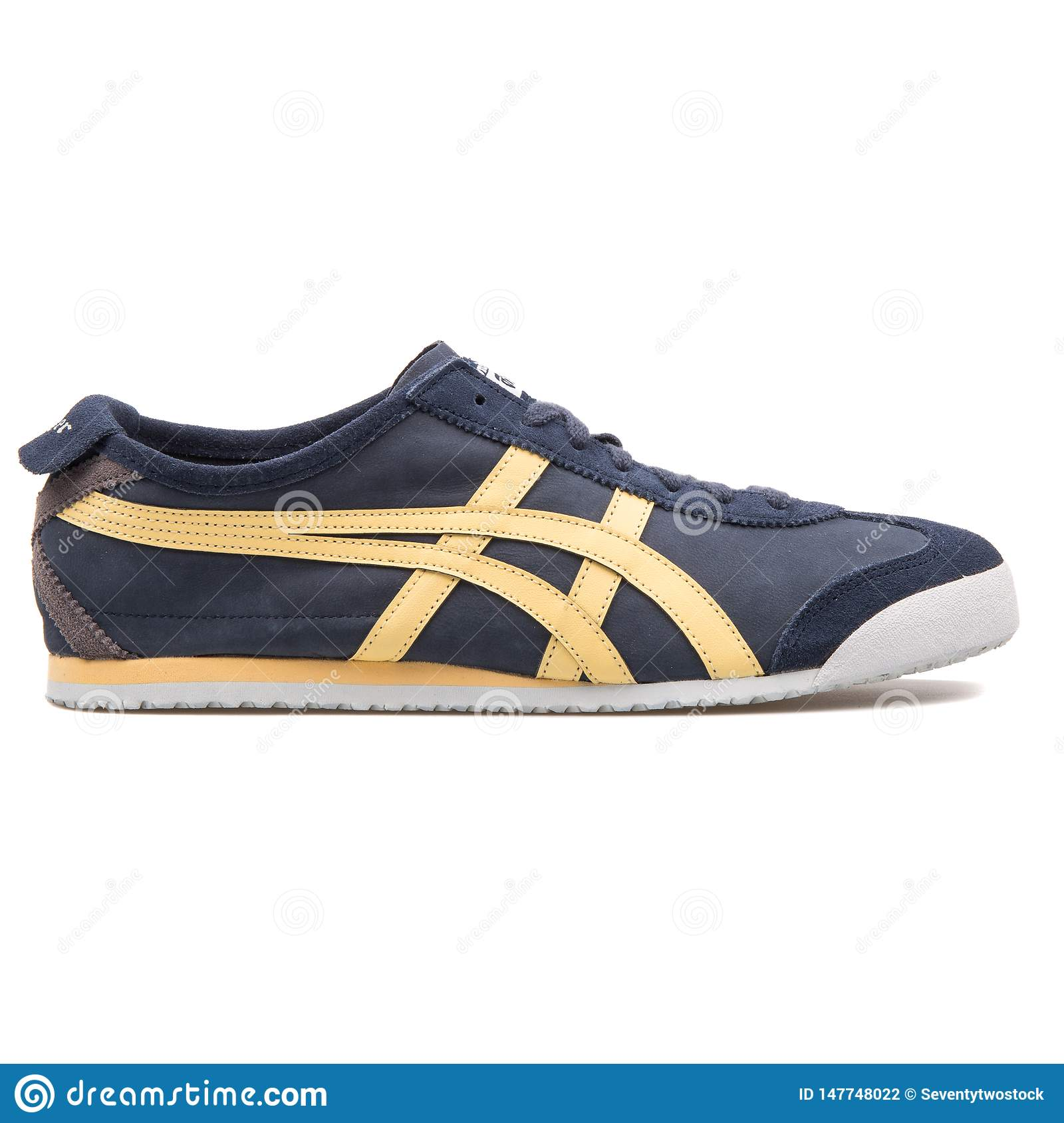 onitsuka tiger mexico 66 slip on black and white vector