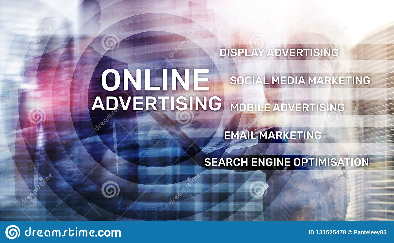 Online advertising, Digital marketing. Business and finance concept on virtual screen